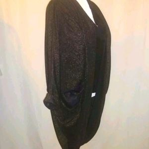 Audrey 3 + 1 Cocoon Cardigan Black w/ Gold Small